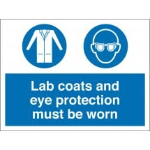 Lab Coats and Eye Protection Must Be Worn Signs