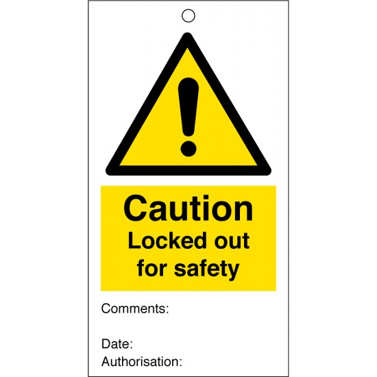 Locked Out For Safety Safety Tags 80mm x 150mm Pack of 10
