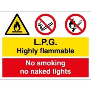 LPG Highly Flammable No Smoking No Naked Lights Signs