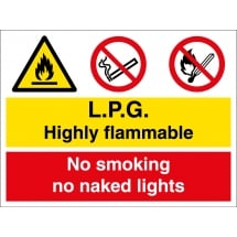 LPG Highly Flammable No Smoking No Naked Lights Signs