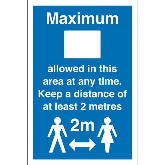 Maximum Persons Allowed Keep Distance Signs