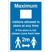 Maximum Visitors Allowed In Store Signs