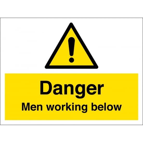 Men Working Below Signs