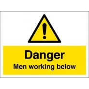 Men Working Below Signs