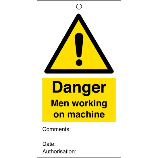Men Working On Machine Safety Tags 80mm x 150mm Pack of 10