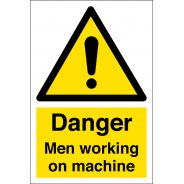 Men Working On Machine Signs
