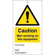 Men Working On This Equipment Safety Tags 80mm x 150mm Pack of 10
