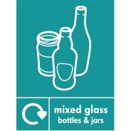 Mixed Glass Recycling Signs