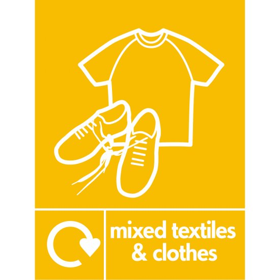 Mixed Textiles And Clothes Recycling Signs