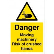 Moving Machinery Risk Of Crushed Hands Signs