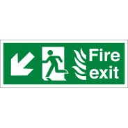 NHS Fire Exit Arrow Down Left Signs