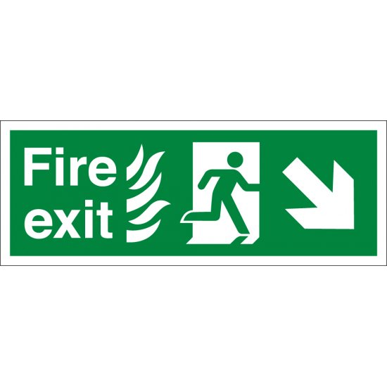 NHS Fire Exit Arrow Down Right Signs