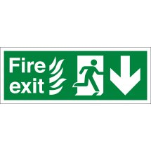 NHS Fire Exit Arrow Down Signs