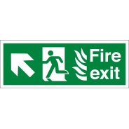 NHS Fire Exit Arrow Up Left Signs