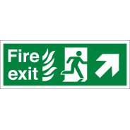 NHS Fire Exit Arrow Up Right Signs