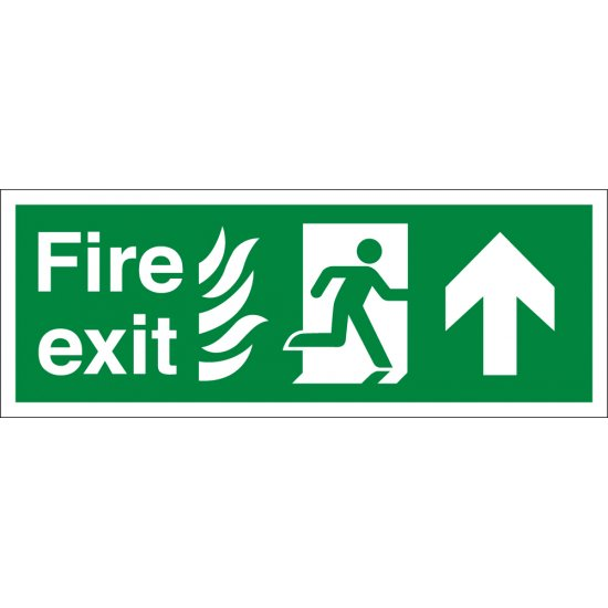 NHS Fire Exit Arrow Up Signs
