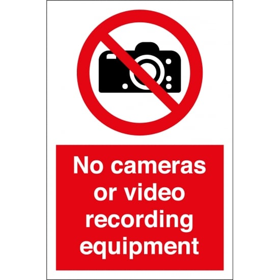 No Cameras or Video Recording Equipment Signs
