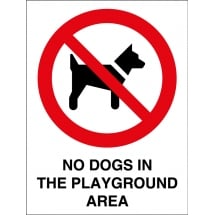No Dogs In The Playground Area Signs