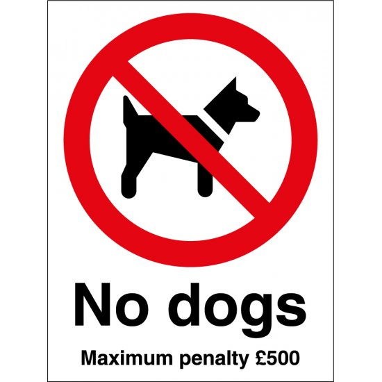 No Dogs Maximum Penalty Signs