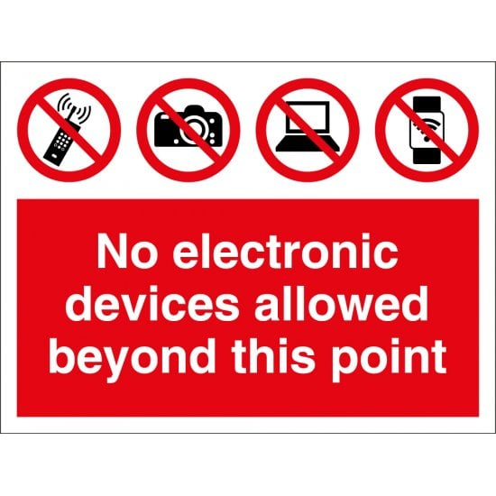No Electronic Devices Allowed Beyond This Point Signs