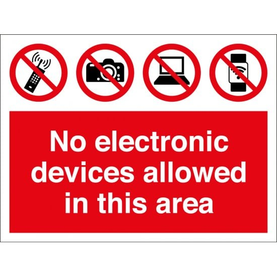 No Electronic Devices Allowed In This Area Signs