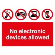 No Electronic Devices Allowed Signs