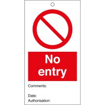 No Entry Safety Tags 80mm x 150mm Pack of 10