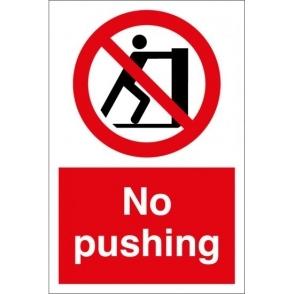 No Pushing Signs