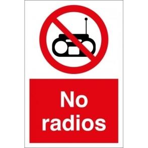 No Radios Signs