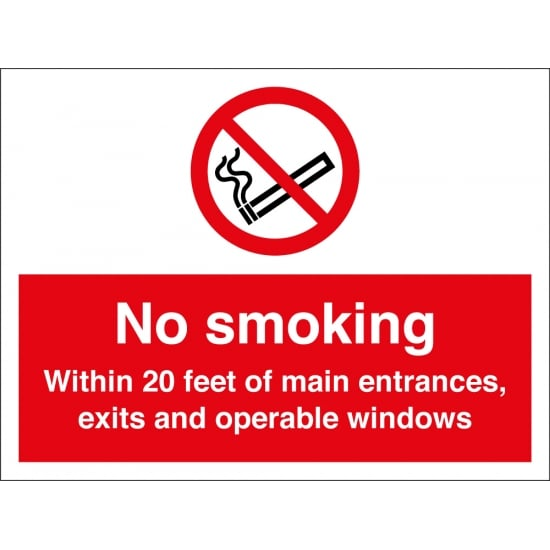 No Smoking 20 Feet Signs
