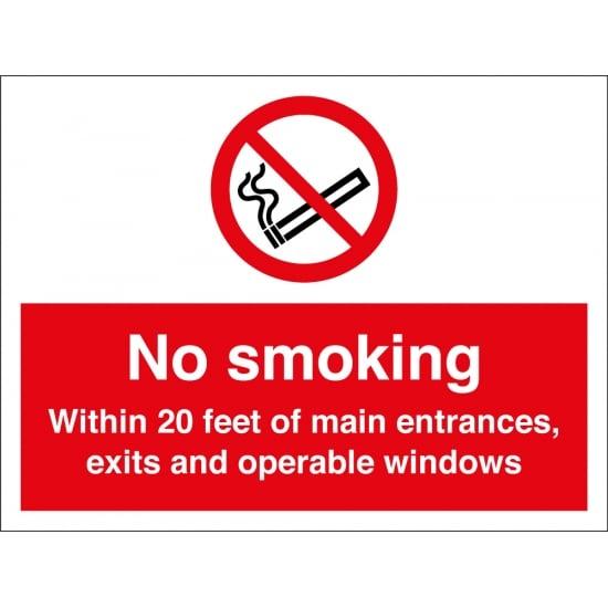 No Smoking 20 Feet Signs