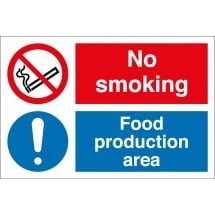 No Smoking Food Production Area Signs