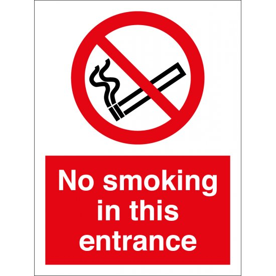 No Smoking In This Entrance Signs