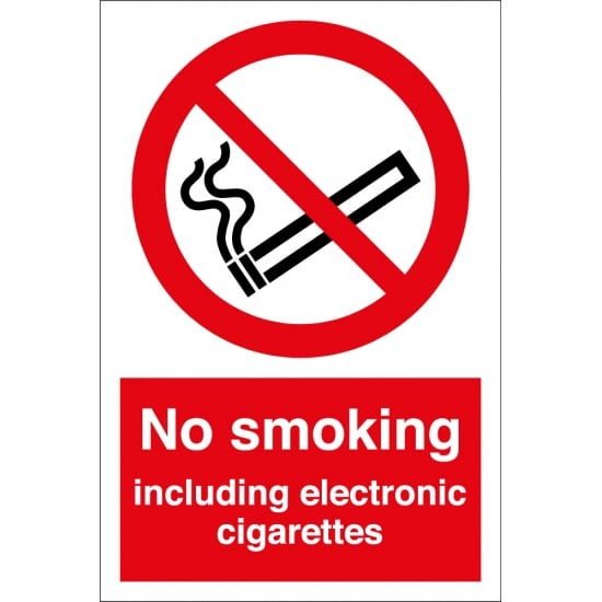 No Smoking Including Electronic Cigarettes Signs