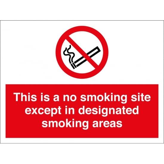 No Smoking Site Except In Designated Areas Signs