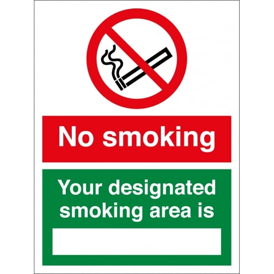 No Smoking Your Designated Smoking Area Is Signs
