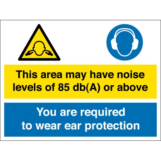 Noise Levels Of 85db Ear Protection Safety Signs