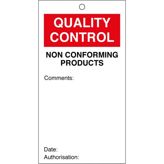 Non Conforming Products Quality Control Tags 80mm x 150mm Pack of 10