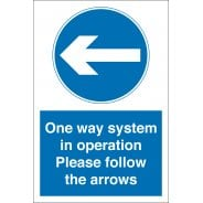 One Way System In Operation Arrow Left Signs