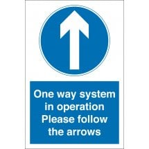 One Way System In Operation Arrow Up Signs