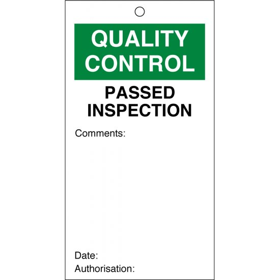 Passed Inspection Quality Control Tags 80mm x 150mm Pack of 10