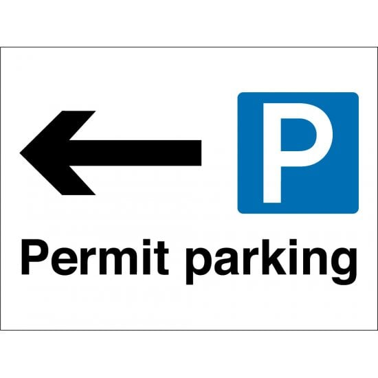 Permit Parking Arrow Left Signs