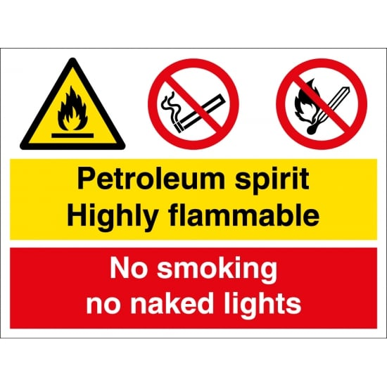 Petroleum Spirit Highly Flammable No Smoking Signs