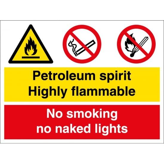 Petroleum Spirit Highly Flammable No Smoking Signs