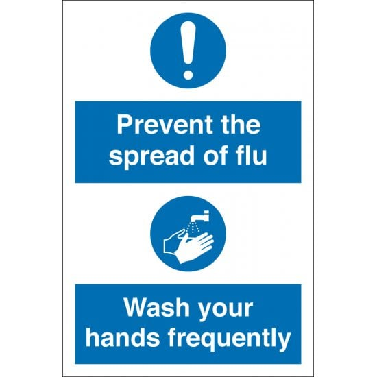 Prevent The Spread Of Flu Wash Hands Frequently Signs