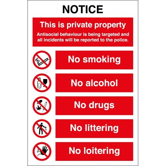 Private Property Antisocial Behaviour Will Be Reported Signs