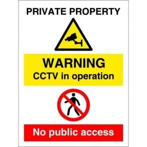 Private Property CCTV No Public Access Signs