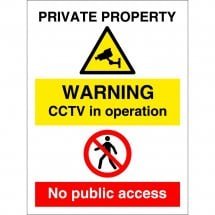 Private Property CCTV No Public Access Signs