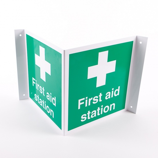 Projecting First Aid Station Signs