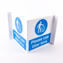 Projecting Use Litter Bins Signs
